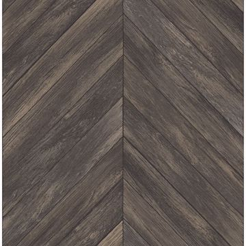 Picture of Parisian Dark Brown Chevron Wood Wallpaper