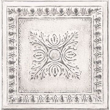 Picture of Hazley White Ornamental Tin Tile Wallpaper