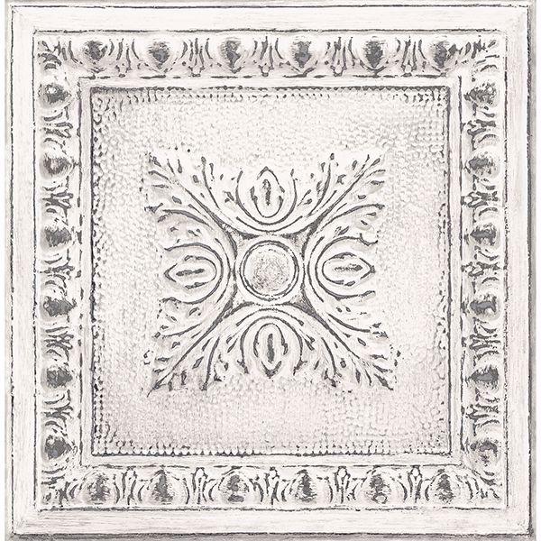 Picture of Hazley White Ornamental Tin Tile Wallpaper