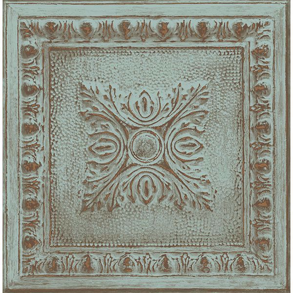 Picture of Hazley Turquoise Ornamental Tin Tile Wallpaper
