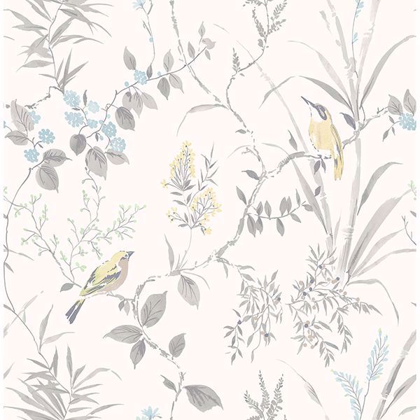 Picture of Imperial Garden Light Grey Botanical Wallpaper
