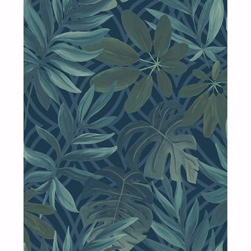 Picture of Nocturnum Dark Blue Leaves Wallpaper