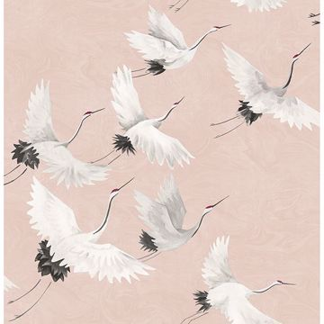 Picture of Windsong Pink Bird Wallpaper