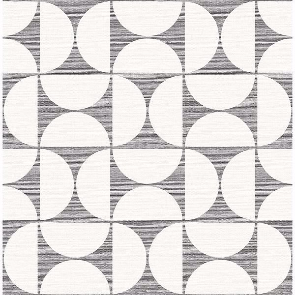 Picture of Deedee Black Geometric Faux Grasscloth Wallpaper