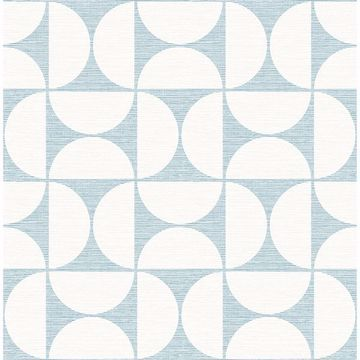 Picture of Deedee Light Blue Geometric Faux Grasscloth Wallpaper