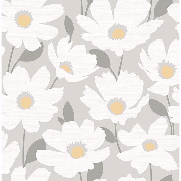Picture of Astera Grey Floral Wallpaper