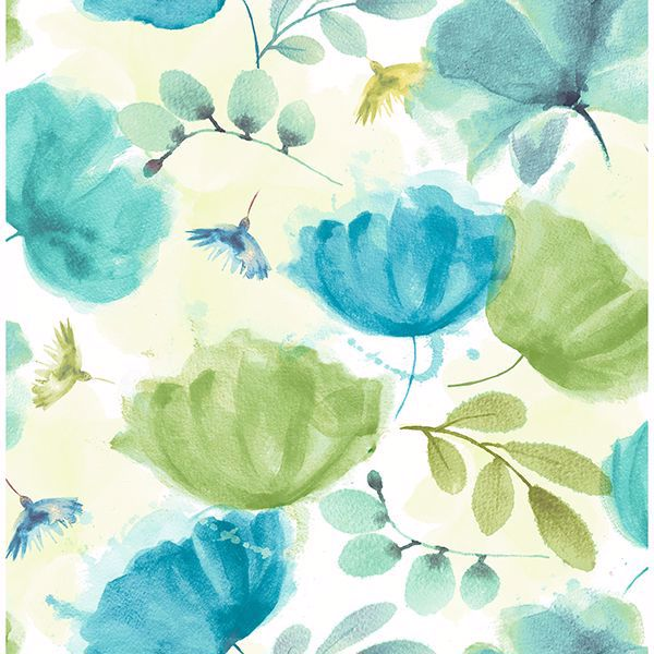 Picture of Zahra Turquoise Floral Wallpaper