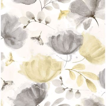 Picture of Zahra Grey Floral Wallpaper