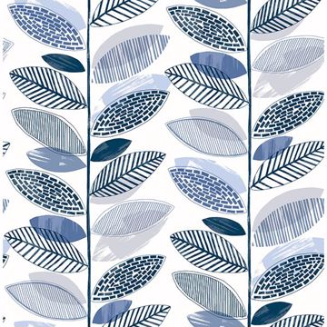 Picture of Nyssa Blue Leaves Wallpaper
