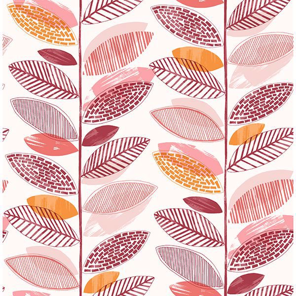 Picture of Nyssa Coral Leaves Wallpaper