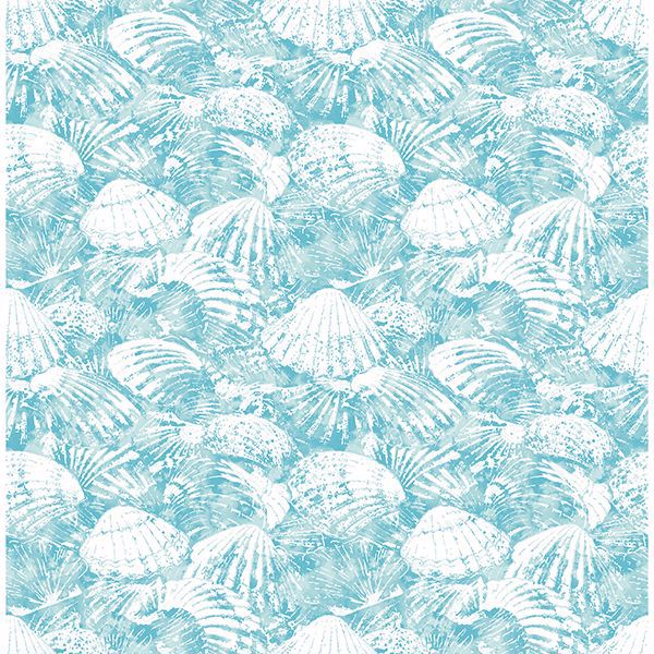 Picture of Surfside Aqua Shells Wallpaper