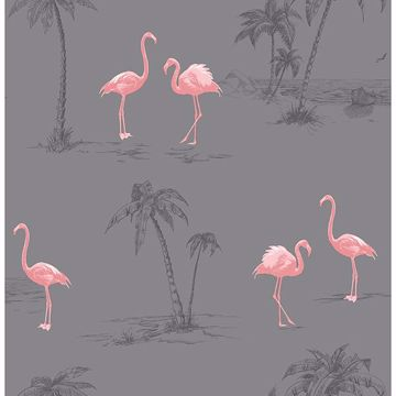 Picture of Sanibel Taupe Flamingo Wallpaper