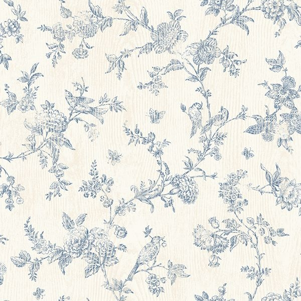 Picture of French Nightingale Blue Floral Scroll Wallpaper