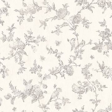 Picture of French Nightingale Taupe Floral Scroll Wallpaper
