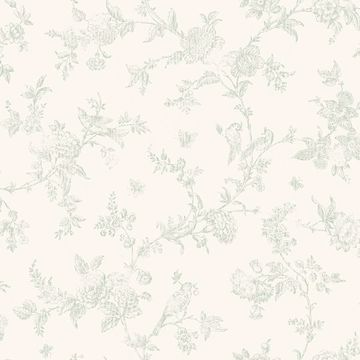 Picture of French Nightingale Sage Floral Scroll Wallpaper