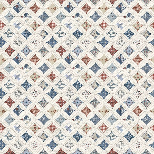 Picture of Mcentire Off-White Geometric Quilt Wallpaper