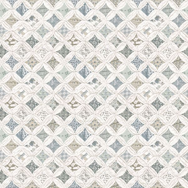 Picture of Mcentire Teal Geometric Quilt Wallpaper