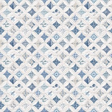 Picture of Mcentire Blue Geometric Quilt Wallpaper