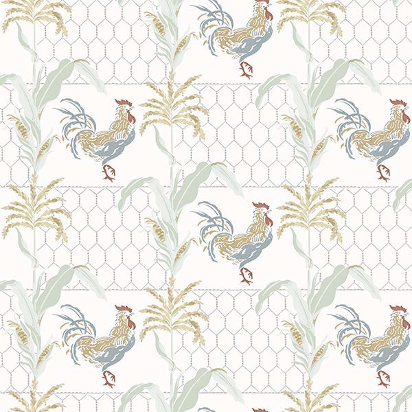Picture of Hank Multicolor Rooster Wallpaper