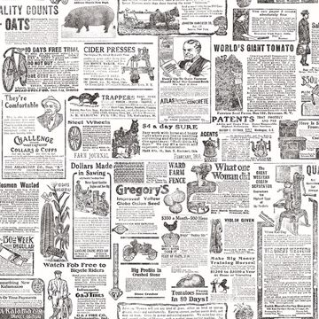Picture of Underwood Black Vintage Newspaper Wallpaper
