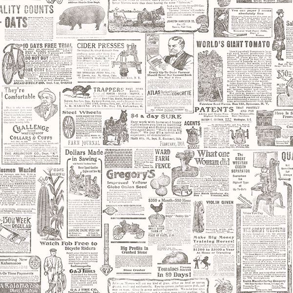 Picture of Underwood Taupe Vintage Newspaper Wallpaper