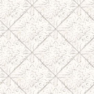 Picture of Brandi White Metallic Faux Tile Wallpaper
