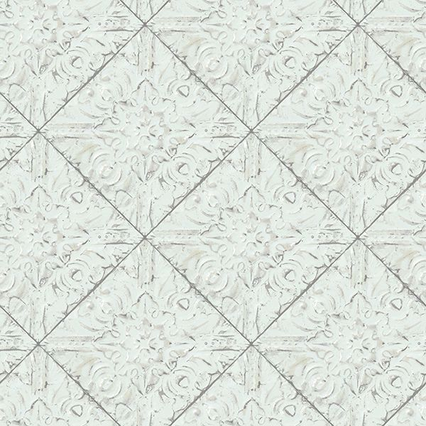 Picture of Brandi Teal Metallic Faux Tile Wallpaper