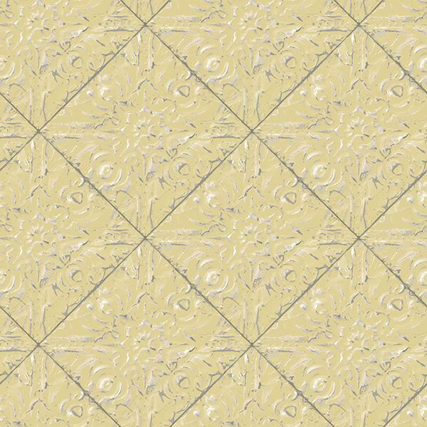 Picture of Brandi Yellow Metallic Faux Tile Wallpaper