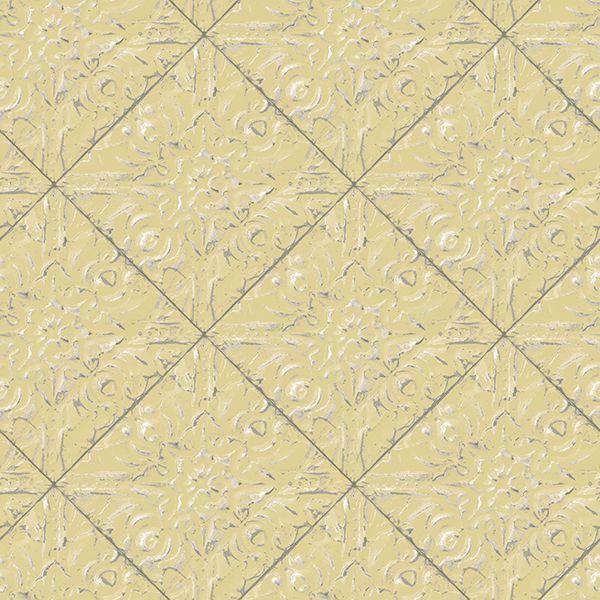 Picture of Brandi Yellow Metallic Faux Tile Wallpaper