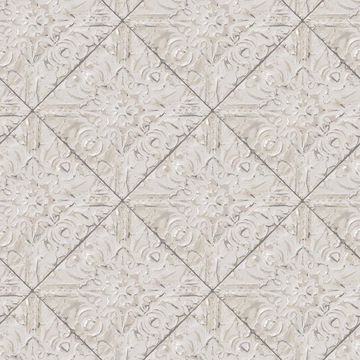 Picture of Brandi Grey Metallic Faux Tile Wallpaper