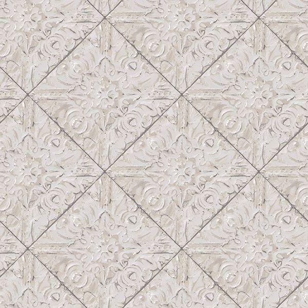 Picture of Brandi Grey Metallic Faux Tile Wallpaper