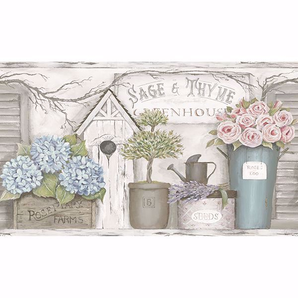 Picture of Greenhouse Light Grey Floral Trail Border