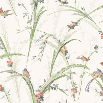 Picture of Meadowlark Light Green Botanical Wallpaper