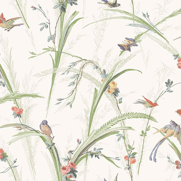 Picture of Meadowlark Light Green Botanical Wallpaper