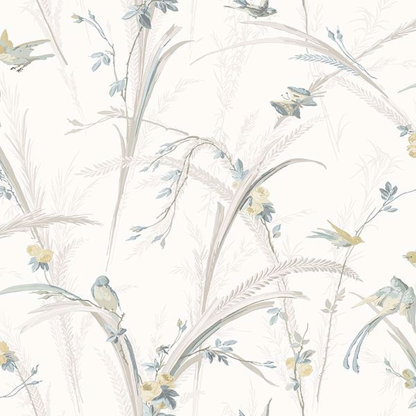 Picture of Meadowlark Light Grey Botanical Wallpaper
