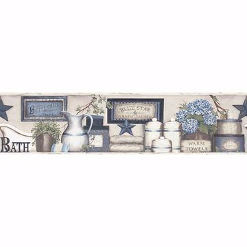 Picture of Country Bath Blue Rustic Border