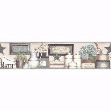Picture of Country Bath Aqua Rustic Border