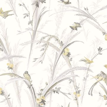 Picture of Meadowlark Yellow Botanical Wallpaper