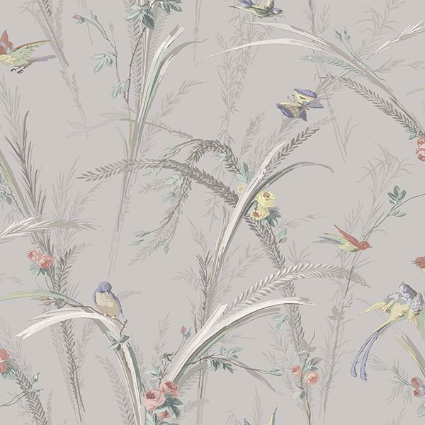Picture of Meadowlark Grey Botanical Wallpaper