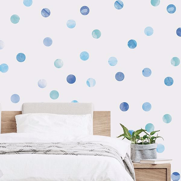 Picture of Watercolor Dots Blue Wall Art Kit