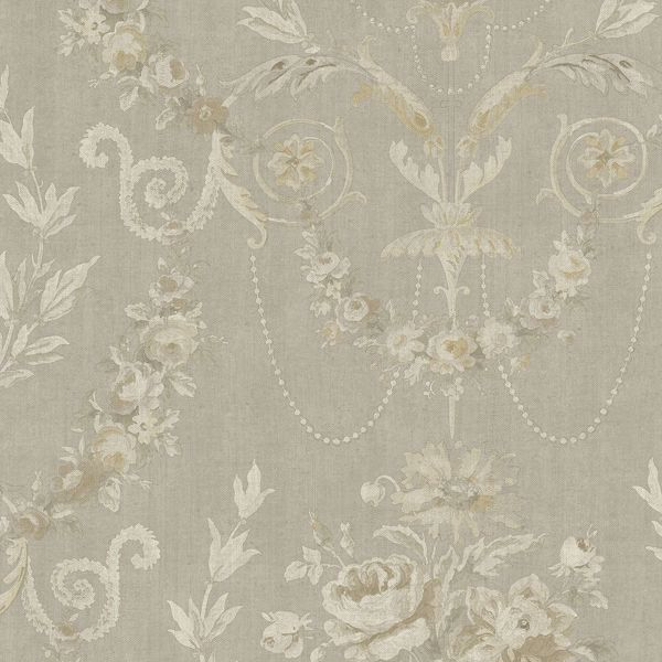 Picture of Grey Rose Urn Wallpaper