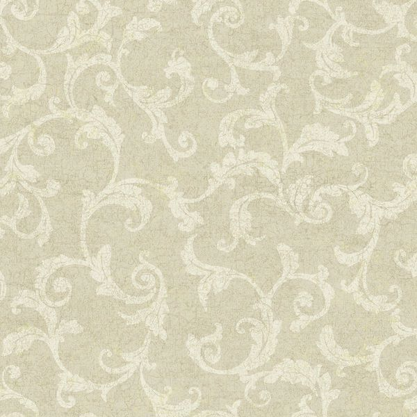 Picture of White Tonal Scroll Wallpaper