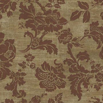 Picture of Maroon Tonal Jacobean Wallpaper