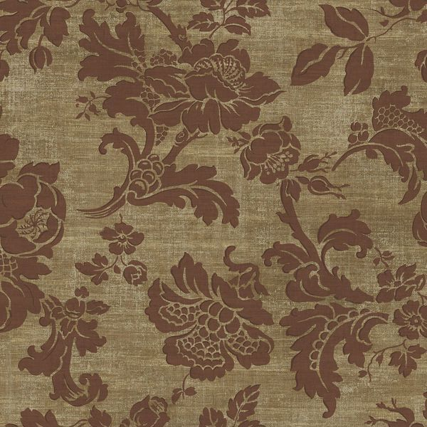 Picture of Maroon Tonal Jacobean Wallpaper