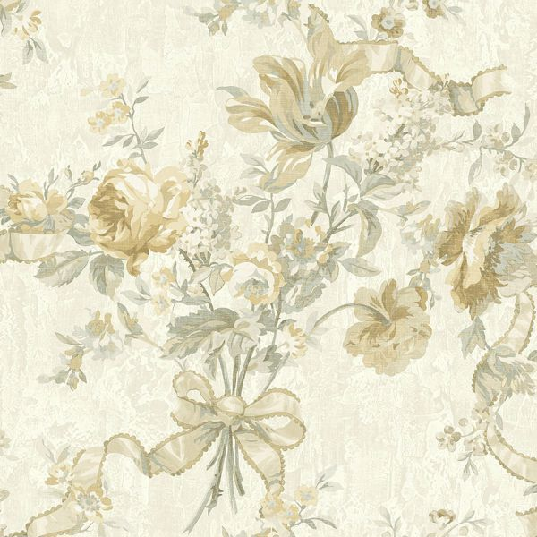 Picture of Gold Ribbon Floral Wallpaper