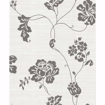 Picture of Charcoal Floral Wallpaper