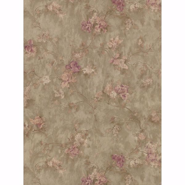 Picture of Sweet Pea Green Texture Floral Wallpaper
