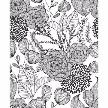 Picture of Black Secret Garden Peel and Stick Wallpaper