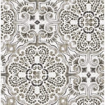 Picture of Black Florentine Tile Peel and Stick Wallpaper