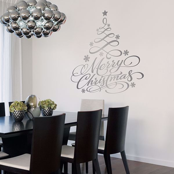 Picture of Silver Holiday Tree Wall Stickers